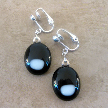 Dangle Clip On Earrings, Glass Clip On Earrings, Black and White, Drop - Admiral by mysassyglass