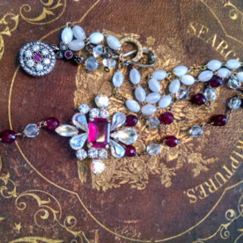 Color of Love Beautiful Assemblage Necklace French Locket with Garnet, Mother Of Pearl,Vintage Czech