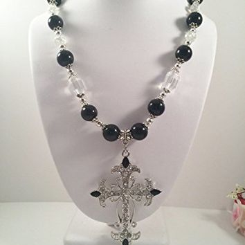 Cross Pendant Glass Beaded Chunky Choker Necklace, Gothic jewelry - 17 inch