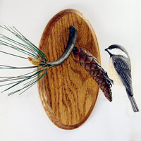 Black Capped Chickadee Wood Carving Hand Carved Wall Sculpture Bird Woodcarving by Mike Berlin