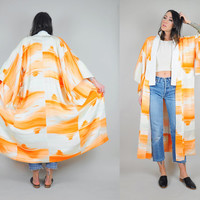 40's silk Watercolor Japanese KIMONO robe