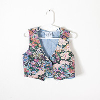 Vintage Floral Denim Vest / 80s Jean Jacket / Ditsy Floral Print Denim Jacket / 90s Grunge Jacket / Retro Baby Clothes Hipster Kids Clothing