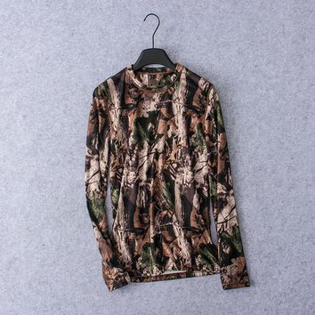 2018 Men Hunting LS T-shirt Camouflage Quick-dry UV Men Hunting  Shirts  Outdoor Sports Hiking Fleece Clothing USA Size S-XL