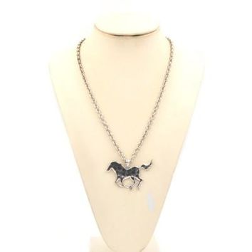 "AN1522 33"" Farm Animal Necklace-Horse-Silver"