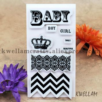 BABY BOY GIRL SWEET BEAUTIFUL Scrapbook DIY photo cards account rubber stamp clear stamp transparent stamp 7.5x15cm KW6122515