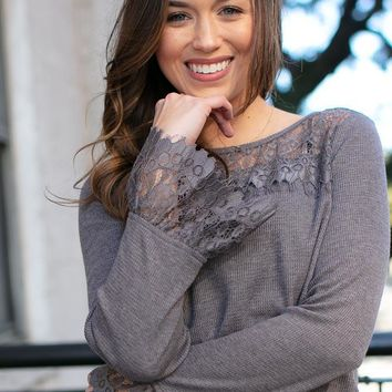 Good to Me Thermal Lace Detail Top