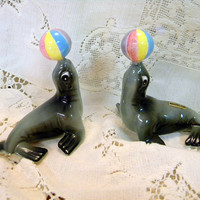 Vintage seals with balls salt and pepper shaker set made in Japan with gold labels