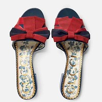 GUCCI Women Fashion New Red Blue Bow-Knot Stripe Leisure High Quality Slippers Shoes
