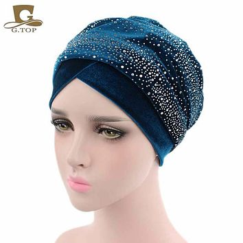 New Luxury Women Velvet Turban Headband Diamante Studded  Extra Long Velvet Turban Head Wraps Hijab Head Scarf Turbante
