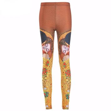 2016 Women Sexy vintage Egypt Pharaoh King Tut Cheshire Cat Mechanical Bones White Black Aurora Skye Orange Leggings HOT Sale
