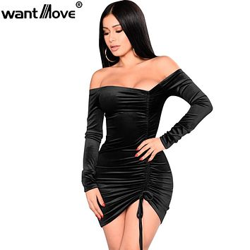 Wantmove 2018 women velvet sexy party plus size asymmetrical ruching off shoulder dress