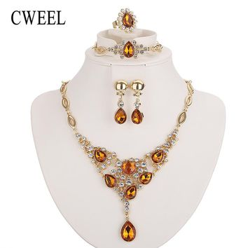 CWEEL Jewelry Sets For Women African Beads Jewelry Set Classic Gold Color Dubai Jewellery Sets Costume Wedding Jewelry