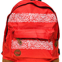 The Bandana Print Backpack in Bright Red