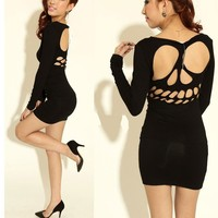 New Womens  Backless  Dress,long sleeves skirt