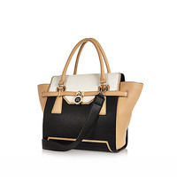 River Island Womens Black medium winged padlock tote bag