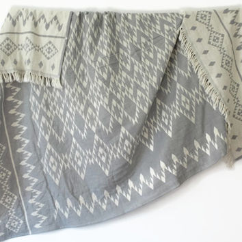 Navajo Throw Blanket | Southwestern Blanket | Grey White Geometric Throw | Aztec Picnic Blanket | Organic Sofa Throw | College Student Gift