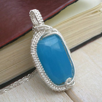 Blue Chalcedony Pendant - Wire Wrapped Pendant - Wire Wrapped Jewellery Handmade - Wire Jewellery