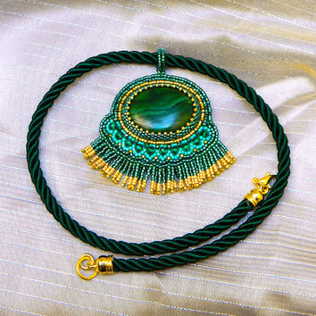 Antique Treasure ooak statement pendant necklace with natural malachite bead embroidered green handmade jewelry