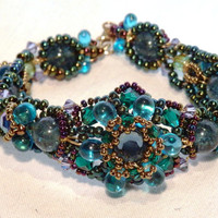 Peacock Diva Bracelet in Blue Green Beads by JeanineDesigns
