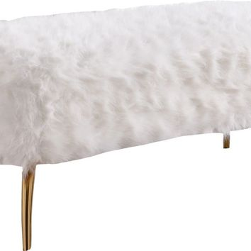 Tiffany White Fur Bench