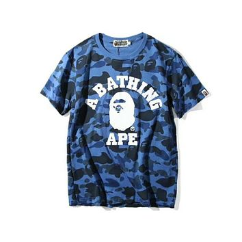 Bape counters classic head portrait full body camouflage round neck short T F-Great Me Store Blue