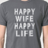 Wedding Gift Happy Wife Happy Life T-shirt - Funny Tshirt Womens T Shirt Men T shirt Husband Gift Cool Shirt T shirt Marriage Tee