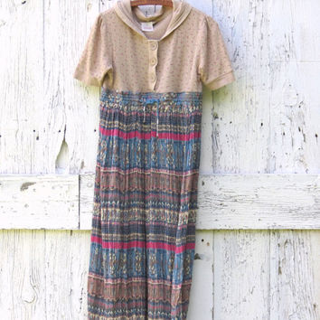 Eco friendly Tribal Babydoll dress , upcycled size Large earth tones one of a kind indie fashion recycled repurposed clothes by wearlovenow