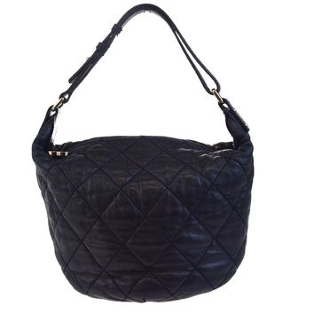 Authentic CHANEL CC Logos Quilted Shoulder Bag Leather Black Italy 88ED673