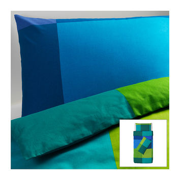 BRUNKRISSLA Quilt cover and 2 pillowcases, blue - blue - 150x200/50x80 cm - IKEA