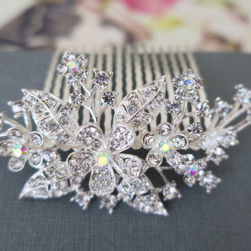 Bridal Hair Comb Crystal Wedding Flower Hair Comb AB Rhinestone Hair Comb