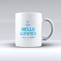 The Hello Summer Blue Watercolor Anchor V1 ink-Fuzed Ceramic Coffee Mug