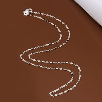 Big Promotion! wholesale 925 stamped silver plated necklace, silver fashion jewelry Rolo Chain 1mm Necklace 16 18 20 22 24 INCHE