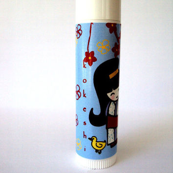 Yellow Ducky Kokeshi Natural Lipbalm Cherry Flavor Chapstick