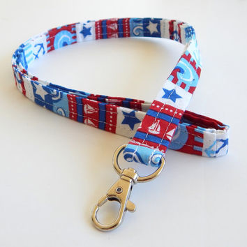 Nautical Lanyard / United States / Anchor Keychain / Stars / Key Lanyard / ID Badge Holder / Red White and Blue / Fourth of July / Mariner
