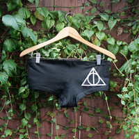 Deathly Hallows Panties/Booty Shorts/Underwear - Harry Potter - White on Black - Made to Order- Choose Size