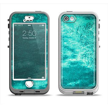 The Grungy Teal Chipped Concrete Apple iPhone 5-5s LifeProof Nuud Case Skin Set