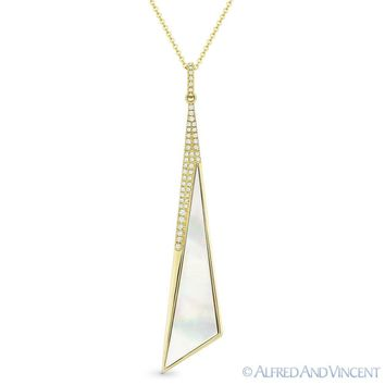 Mother-of-Pearl & 0.12ct Round Diamond 14k Yellow Gold Pendant & Chain Necklace
