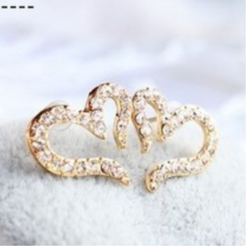 Free Shipping $10 (mix order) New Fashion Vintage Plated Small Love Imitation Diamond Stud Earrings E094 Jewelry