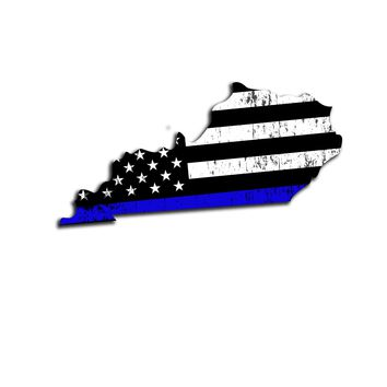 Kentucky Distressed Subdued US Flag Thin Blue Line/Thin Red Line/Thin Green Line Sticker. Support Police/Firefighters/Military