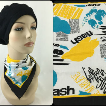 Vintage 80's Pop Art Bandana in Turquoise, Black, Yellow & White Hip Hop New York Street Fashion *Marlene Dietrich* Newsprint Made in USA