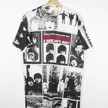 vintage the beatles a hard day's night all over print shirt