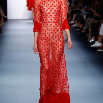 Jenny Packham Embellished Chantilly Lace 3/4-Sleeve Gown, Vermillion