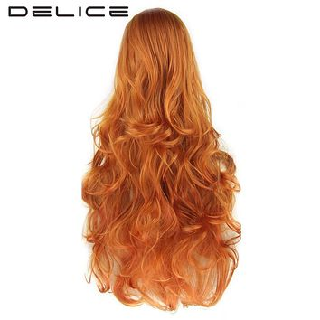 DELICE 80cm Women's Long Curly Orange Green None Lace Wig High Temperature Fiber Synthetic Hair Party Cosplay Wigs