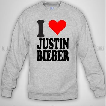 Bull-shirt.com I Heart Justin Bieber Beliber Long Sleeve Crewneck Design Print for Long Sleeve Crewneck Bull-shirt.com