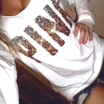Chenire PINK Victoria's Secret Sequin Letter Pattern Loose Shirt Pullover Sweater Blouse Top