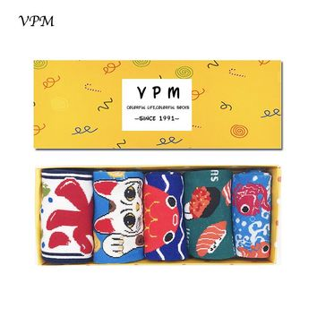 VPM Kawaii Cotton Women Ankle Socks Cartoon Fish Sushi Lucky Cat Whale Slipper Summer Invisible Japanese Style Gift Box 5 Pairs