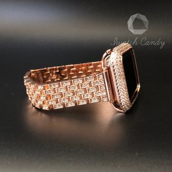 Apple Watch Band 38mm 42mm Series 1,2,3 Womens Rose Gold Rhinestone Crystal Stainless Steel Diamond Look Band Iwatch Bling
