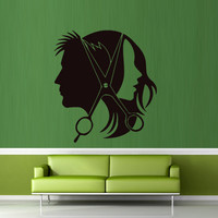 Wall decal decor decals sticker art salon beauty hair scissors hairstyle master stylist fashion curler Glamour haircut (m357)