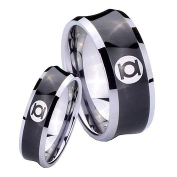 His Her Black Concave Green Lantern Two Tone Tungsten Wedding Rings Set