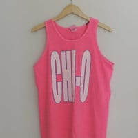 Vintage Neon Pink Chi Omega Oversized Tank Top by WildKardVintage